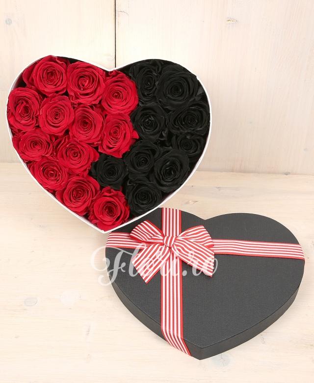 12 trandafiri criogenați roșii, 9 trandafiri criogenați negri, cutie inimă