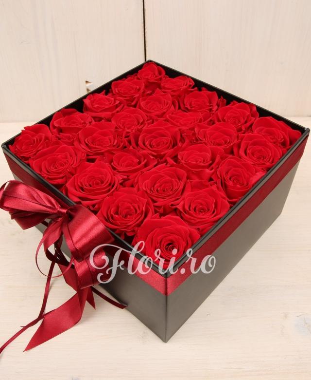 25 trandafiri roșii criogenați în cutie elegantă