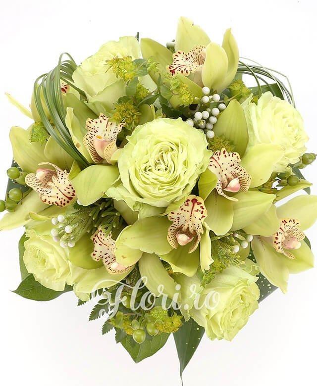 5 trandafiri albi, 1 cymbidium verde, brunia, 5 hypericum verde, verdeață