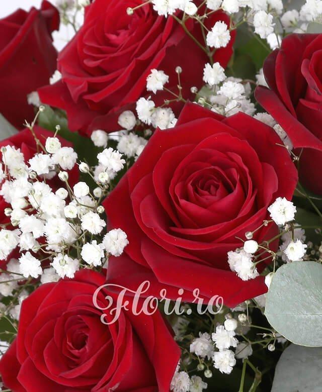 coș, 23 trandafiri roșii, gypsophila, verdeață