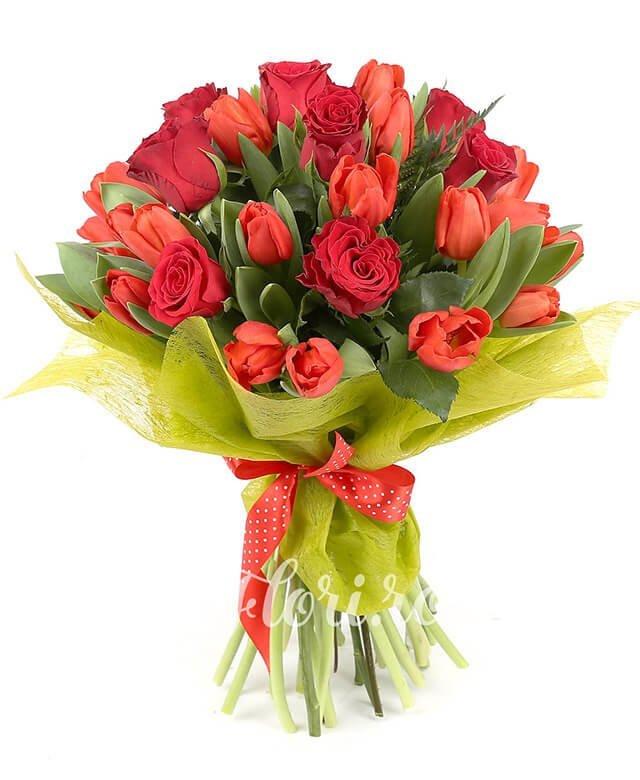 24 lalele roșii, 9 trandafiri roșii