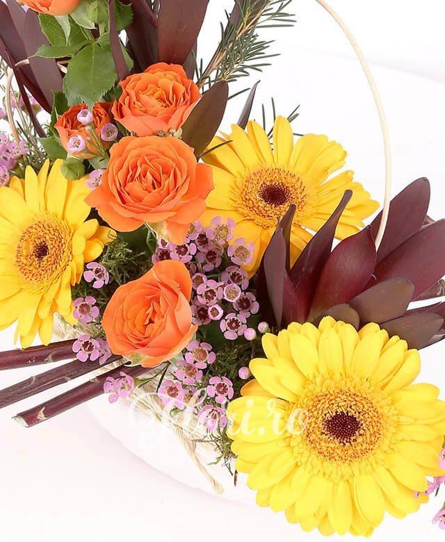 vas ceramic, 3 gerbera galbenă, 3 leucadendron, 1 miniroza portocalie, waxflower, verdeață