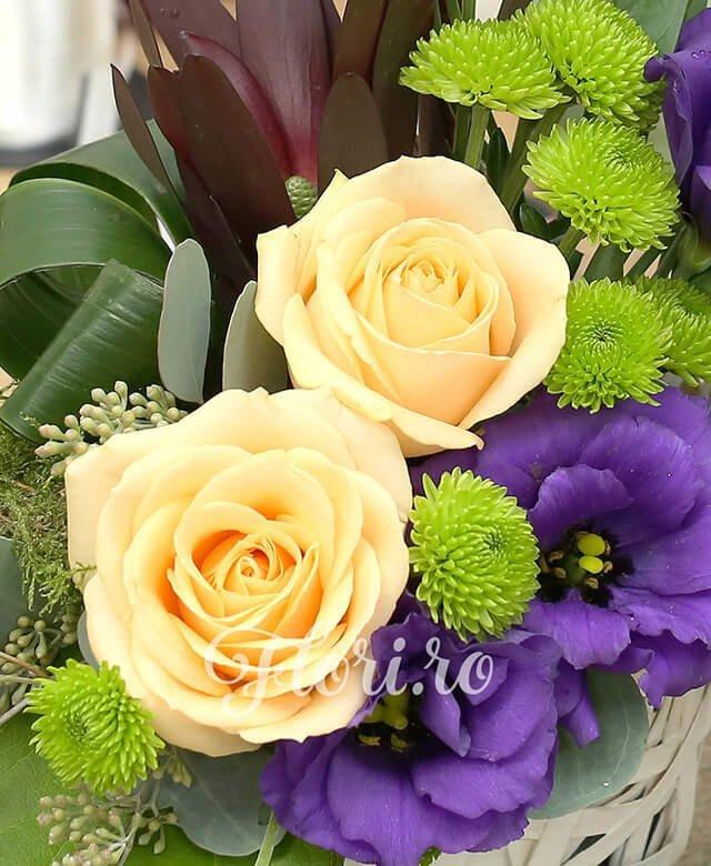 coș răchită, 2 trandafiri banan, 2 leucadendron, 3 lisianthus mov, 2 santini verde, verdeață