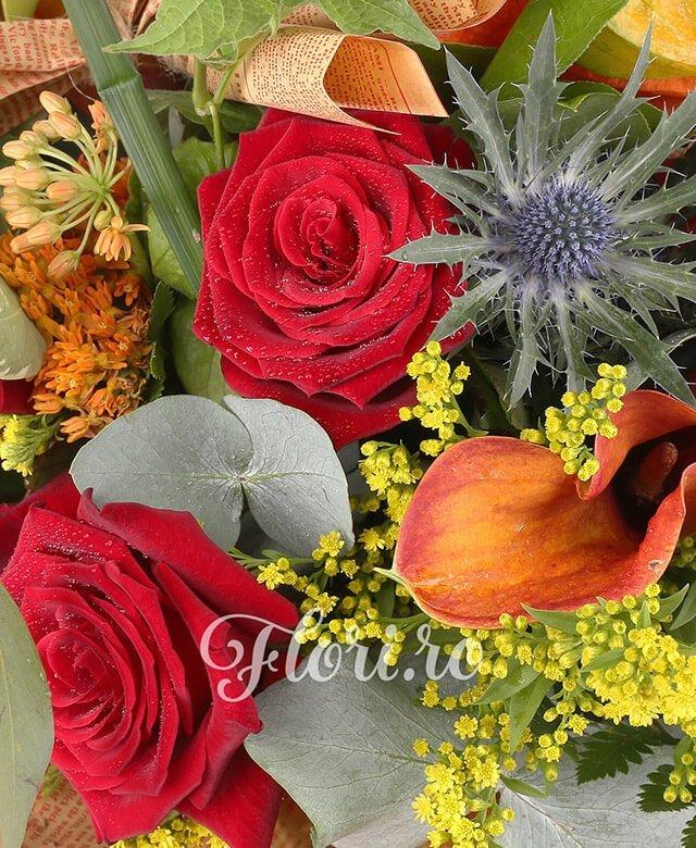 3 trandafiri rosii, 3 cale mango, 3 trandafiri portocalii, 3 asclepias portocaliu, 2 eringium, 2 pisalis, 1 cymbidium verde, solidago, cornete hartie