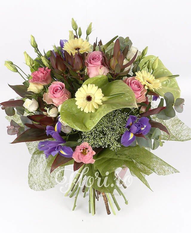 anthurium verde,  iris mov,  trandafiri roz,  lisianthus roz,  lisianthus alb,  leucadendron,  santini verde,  miniroze albe,  gerbera crem,  trachelium alb, verdeață